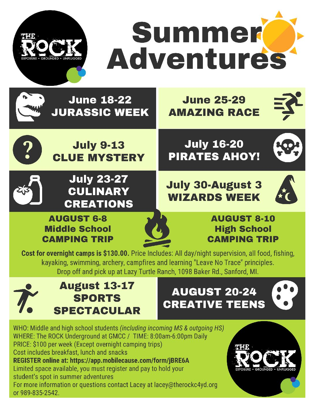 2018 Summer Camps @ The Underground – The ROCK C4YD